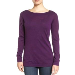 Eileen Fisher Bateau Neck Sweater Fine Merino Wool